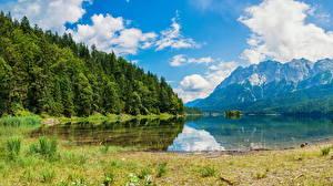 Картинки Швейцария Гора Озеро Леса Альп Wasserauen Природа