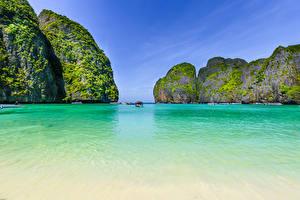 Фото Таиланд Тропики Корабли Залив Утес Maya bay Phi Phi Island Природа