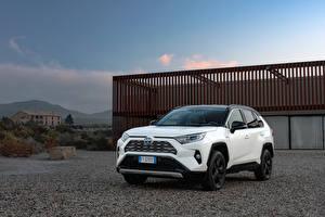 Фото Toyota Гибридный автомобиль SUV Белый Металлик 2019 RAV4 Hybrid Style Worldwide авто