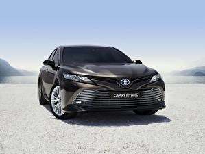Обои Тойота Спереди Черные Гибридный автомобиль Camry Hybrid 2019