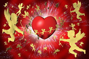 Фото День святого Валентина Ангелы Много Сердечко 3D Графика
