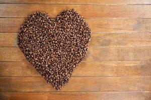Фотография День всех влюблённых Кофе Доски Зерна Сердце Еда
