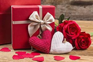 Фотография День святого Валентина Сердце Подарков Бантики Цветы