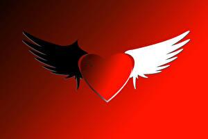 Обои День всех влюблённых Красный фон Сердечко Крылья