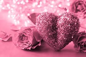 Фото День всех влюблённых Розы Розовый Сердечко