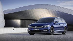 Картинки Volkswagen Синяя Металлик 2019 Passat R-Line Variant Worldwide Автомобили