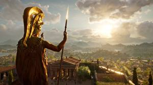 Фотографии Воители Assassin's Creed Odyssey Копья Alexios Spartans 3D_Графика