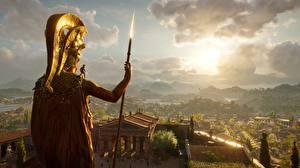 Фотографии Воители Assassin's Creed Odyssey С копьем Alexios Spartans 3D_Графика