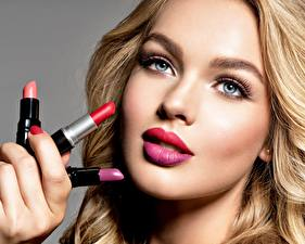 Фотография Мейкап Лицо Смотрит Lipstick Девушки