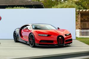 Обои BUGATTI Красный Металлик chiron Автомобили картинки