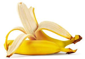 Фото Бананы Вблизи Белый фон 2 Пища