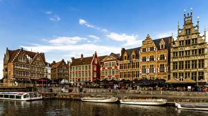 Фотография Бельгия Гент Здания Причалы Водный канал Города