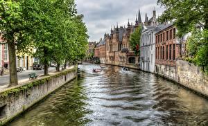 Картинки Бельгия Дома Брюгге Водный канал Деревья HDRI город