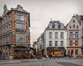 Обои Бельгия Дома Улица Кафе Brussels