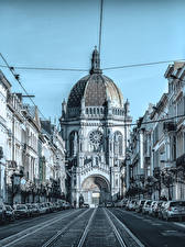 Обои Бельгия Храмы Церковь Дороги Улица Brussels Города