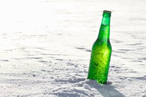 Обои Бутылка Снег Зеленый Пища
