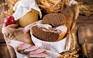 Фотографии Хлеб Ветчина Колосья Продукты питания