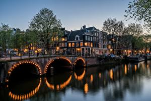 Обои Мосты Речка Здания Амстердам Нидерланды Keizersgracht Города