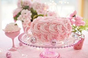 Обои для рабочего стола Торты Розовый Дизайн Еда