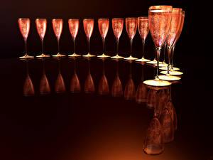 Картинка Игристое вино Бокалы Отражении Еда