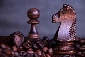 Фотографии Шахматы Вблизи Кофе Из дерева Зерно