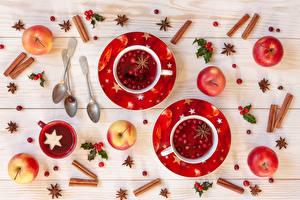 Картинки Рождество Корица Яблоки Чашка Ложка Блюдце Продукты питания