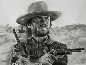 Фото Clint Eastwood Рисованные Пистолеты Мужчины Шляпа Револьвер