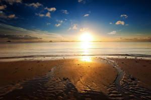 Фото Побережье Рассветы и закаты Песок