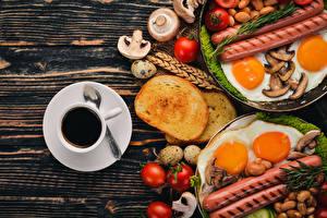 Обои Кофе Хлеб Сосиска Грибы Помидоры Завтрак Чашка Яйца Яичница Еда