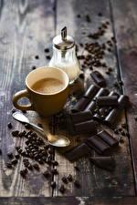 Картинка Кофе Капучино Шоколад Доски Чашка Зерна Пища