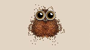 Фотографии Кофе Креатив Совообразные Зерна Чашке Еда