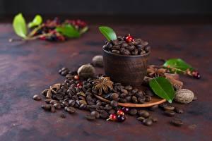 Фотографии Кофе Зерна Чашка Листья Продукты питания