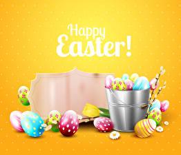 Картинка Пасха Маргаритка Тюльпаны Яйца Шаблон поздравительной открытки Английский Ведро