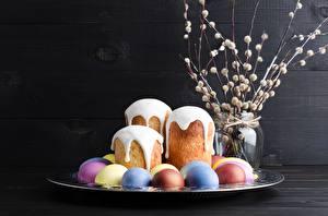 Фотография Пасха Кулич Сахарная глазурь Яйца Еда
