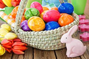 Картинки Пасха Кролики Тюльпаны Яйца Корзины Разноцветные