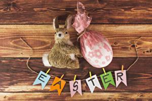 Картинка Пасха Кролики Доски Яйца Английский
