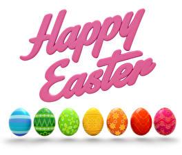 Картинка Пасха Белый фон Английский Яйца Разноцветные