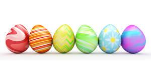 Фотография Пасха Белый фон Разноцветные Яйца