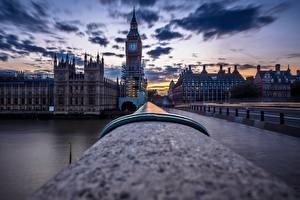 Фото Англия Мосты Вечер Лондон Биг-Бен Города