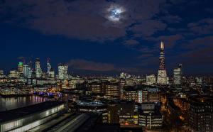 Обои для рабочего стола Англия Дома Небо Лондоне В ночи Луна Города