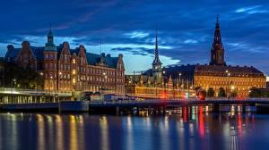 Обои Вечер Здания Мосты Реки Дания Копенгаген Города