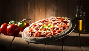 Картинка Фастфуд Пицца Томаты Доски Продукты питания