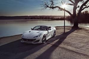 Фотографии Ferrari Белая Кабриолет Portofino Novitec Автомобили