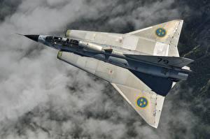 Картинки Истребители Самолеты Сверху Saab 35 Draken Swedish Авиация