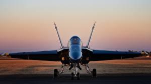 Фотографии Истребители Бомбардировщик Спереди Hornet CF-18 Авиация
