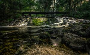 Фотографии Финляндия Река Мост Камни Мох HDR Karkkila Природа