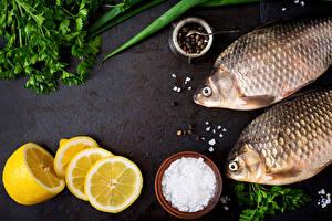 Картинки Рыба Лимоны Перец чёрный Овощи Соль Пища