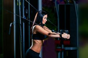 Фотография Фитнес Брюнетка Тренировка спортивные Девушки