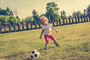 Картинка Футбол Мальчишка Мяч Трава Дети
