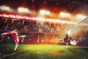 Фото Футбол Вратарь в футболе Мужчины Униформа Газон Руки Прыжок Спорт